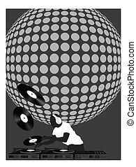 dj, e, bola disco