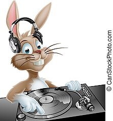 DJ Easter Bunny - An illustration of a cute cartoon Easter...