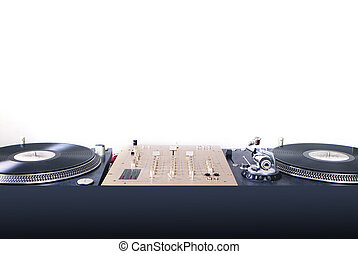 dj equipment gramophone and mixete isolated on white