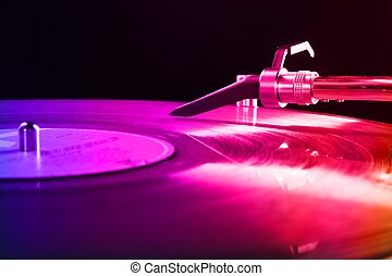 DJ equipment with vinyl disk