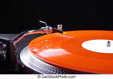 DJ equipment with vinyl disk