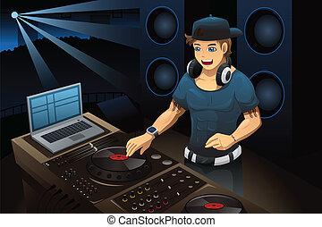 dj, executar, em, um, clube noite