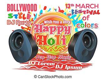 dj, festival, printemps, -, holi., 2017., couleurs, indien, holi, fête, bollywood, style., heureux