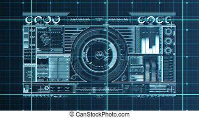 dj, fond, numérique, équipement, grille