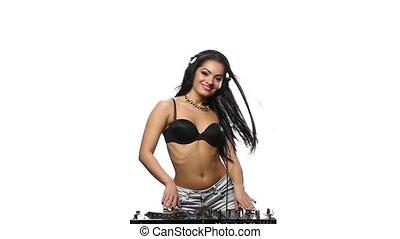 DJ Girl dancing and smiling cute. Green screen. Slow motion