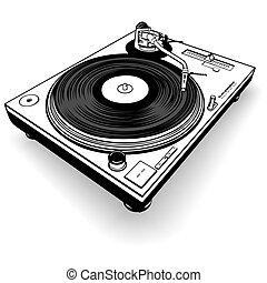 DJ Gramophone BW - Black and White  illustration.