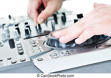 dj gramophone - dj equipment gramophone and mixete isolated...