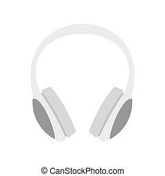 Dj headphones icon, flat style