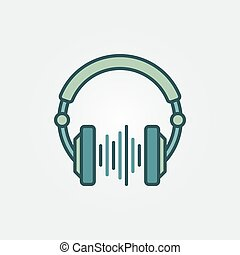 DJ Headphones with sound wave vector creative symbol