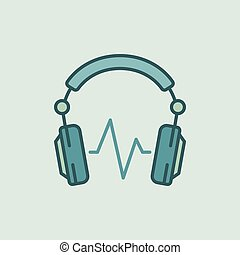 DJ Headphones with sound wave vector icon or symbol