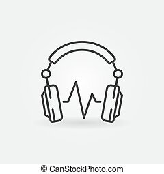DJ Headphones with sound wave vector minimal icon