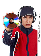DJ holding a disc - Disc Jockey holding a compact disc over...