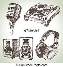 dj, icônes, set., main, musique, illustrations, dessiné
