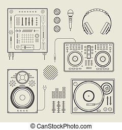 DJ icons - Vector set of various stylized dj icons