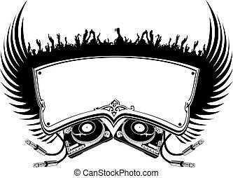 dj, illustration., flayer., ベクトル, 黒, 白