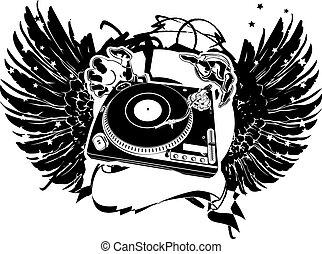 dj, illustration., flayer., ベクトル, 黒, 白, 翼