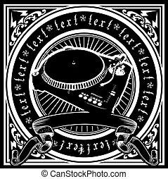 dj, illustration., joueur, vecteur, noir, orné, blanc, quad.