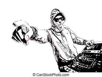 Dj in action - illustration of DJ