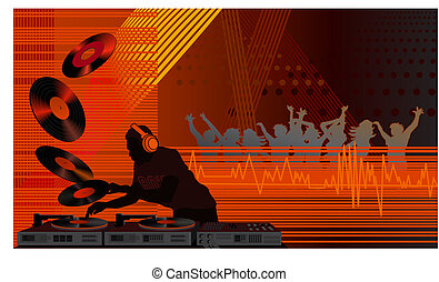 Dj in the Club - Illustration with a dj and people dancing ...