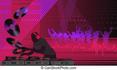 Dj in the House - Illustration with dj, turntable and people...