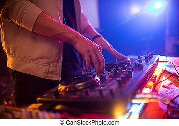 dj, klub, auf, unrecognizable, party, schließen