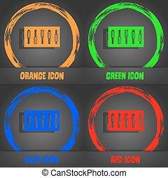 dj, konsol, blanda, berör, och, knäppas, ikon, symbol., fashionabel, nymodig, style., in, den, apelsin, grön, blå, röd, design., vektor