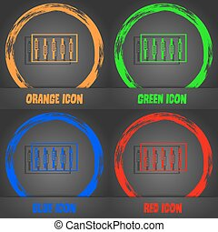 dj, konsol, blanda, berör, och, knäppas, plan, icons., fashionabel, nymodig, style., in, den, apelsin, grön, blå, röd, design., vektor