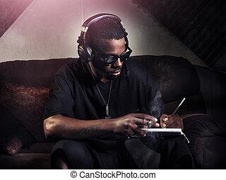 dj, letras, escritura, libro nota, estudio