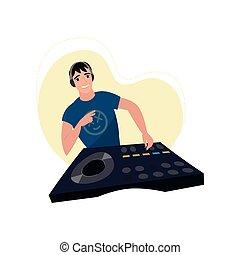 dj, luz, fones, jovem, mão, registro, vinil, vitória, console, chaser, macho, mostra, sorrindo, bege