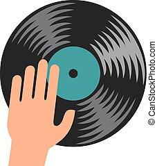 dj, -, mão, disco, vinil, ícone