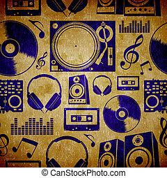 dj, música, elementes, vindima, padrão
