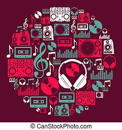 dj, música, iconos, círculo