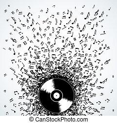 dj, música nota, salpicadura, registro, vinilo