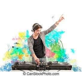 dj, música, tocando