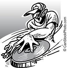 DJ man at work on the disco