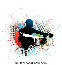 dj man playing tunes - Abstract vector illustration of an dj...