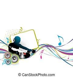 dj man - Abstract vector illustration of an dj man playing...