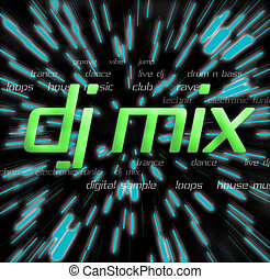 """a typography montage themed around """"dj mix"""" discos / clubs / music"""