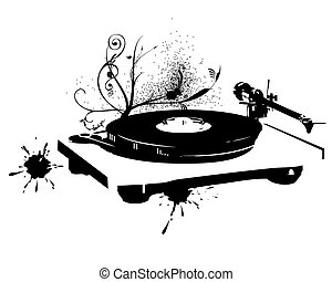 dj, mix., registro vinil
