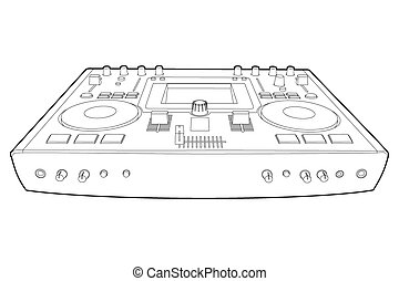 black outline DJ console on white background