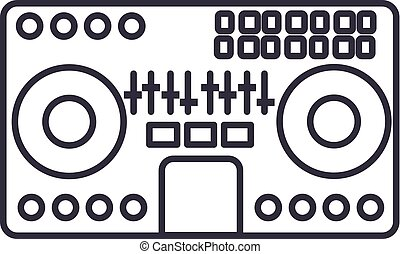 dj mixer, mixing music, party, techno vector line icon, sign, illustration on background, editable strokes