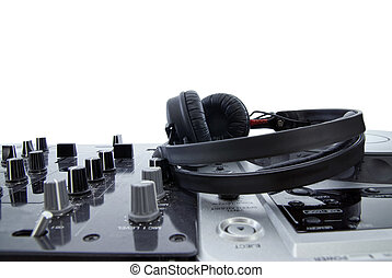 dj mixer with headphones isolated on white
