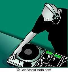DJ mixing - Coloured illustration.