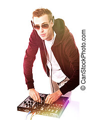 DJ Mixing Isolated on White