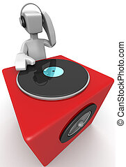 DJ mixing music and a big red speaker 3d illustration