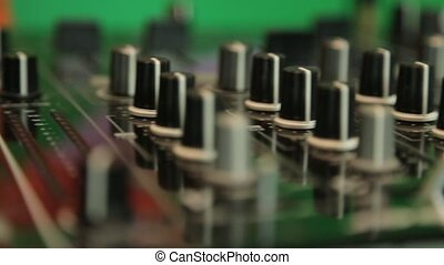 Dj mixing panel close up