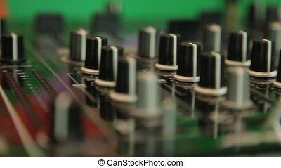 Dj mixing panel close up