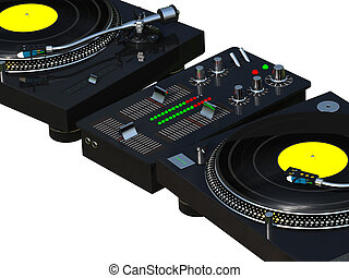 DJ mixing set close up - 3D rendering DJ mixing set isolated...