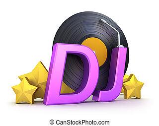 dj, mot, vinyle, étoiles