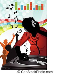 A vector illustration of a music DJ playing music